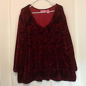Woman within velvet feeling shirt